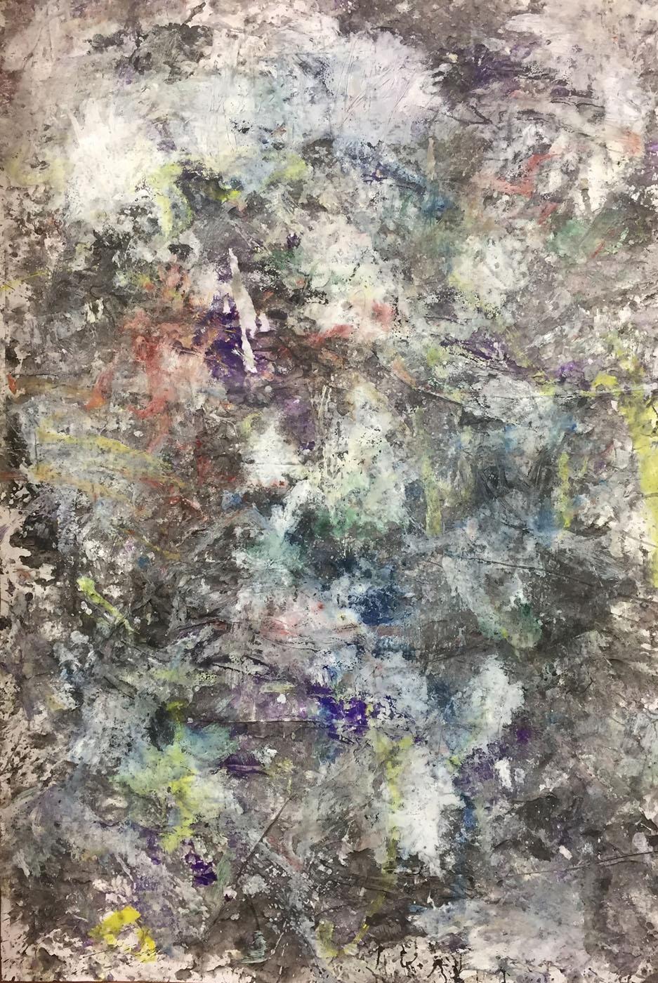 MARC FELD 2019 DÉFLAGRATION DES SOURCES 8 Huile, pigment et gouache sur papier 89 X 130 cm