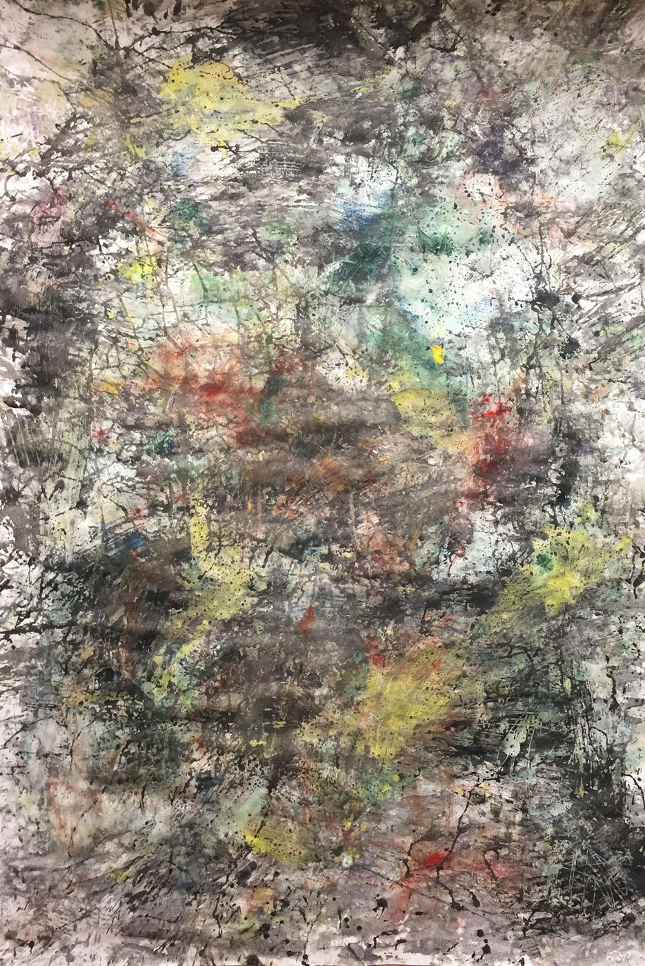 MARC FELD 2019 DÉFLAGRATION DES SOURCES 9 Huile, pigment et gouache sur papier 89 X 130 cm