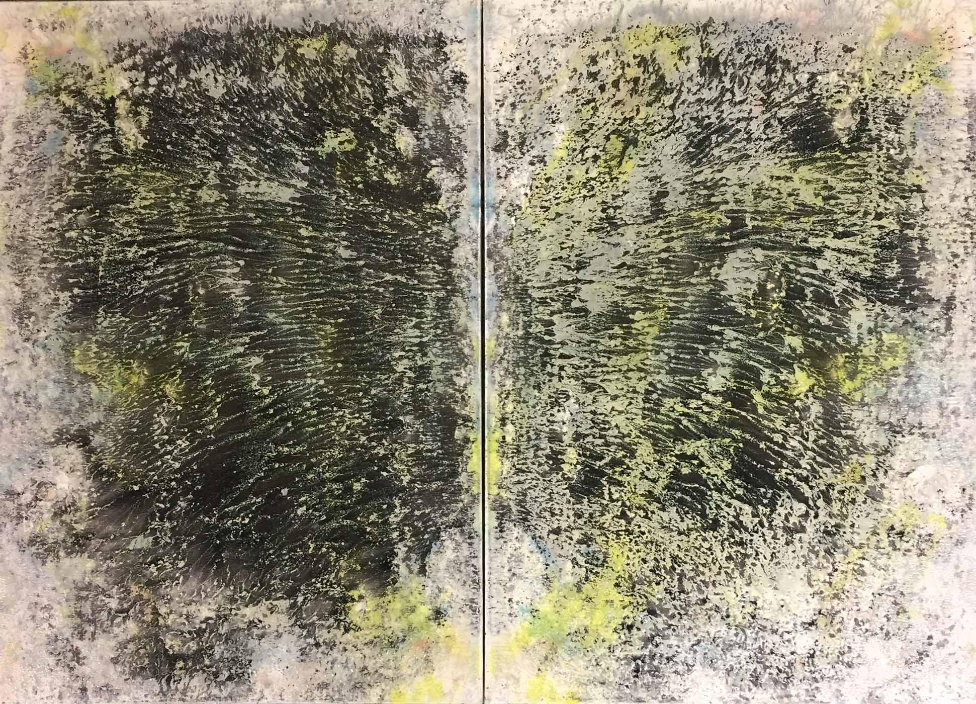 MARC FELD 2019 CANTARE (diptyque) Huile, pigment, acrylique et gouache sur toile 92 x 56 cm