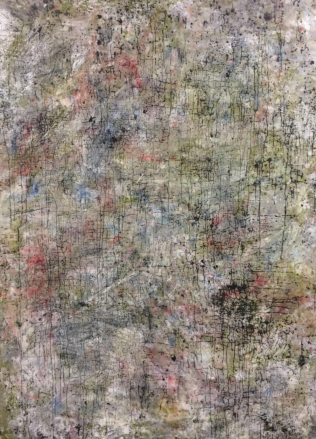 MARC FELD 2019 TRACES OF JOHN 2 Huile, pigmnent, acrylique et gouache sur papier 116 x 158 cm