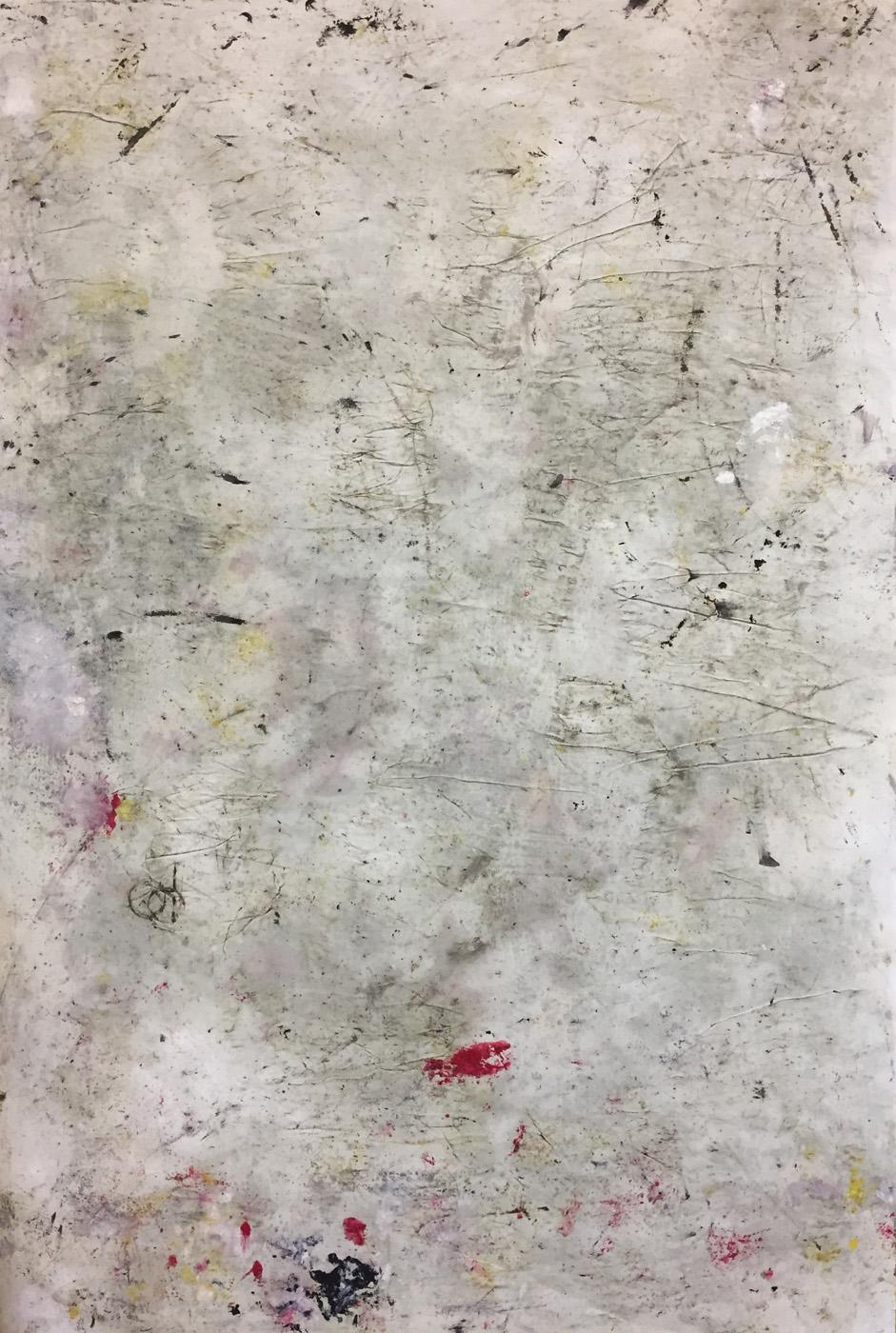MARC FELD 2019 : 2020 EPISTROPHY 1 ( echo of Thelonius) Huile, pigment et gouache sur papier 89 X 130 cm