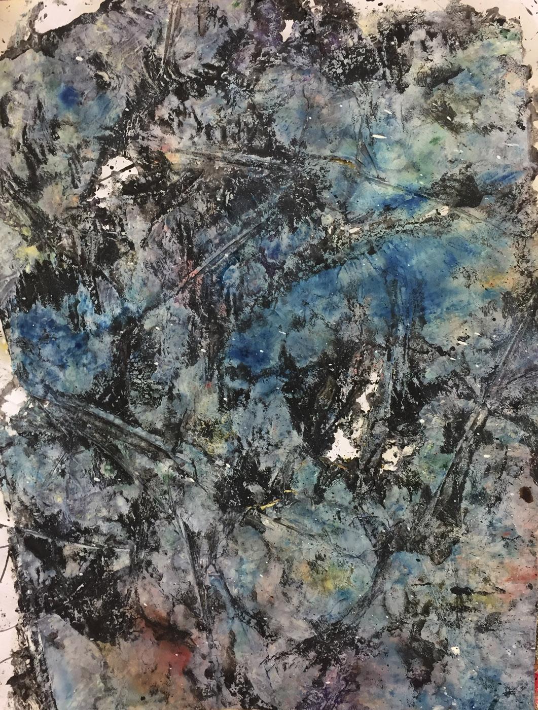 MARC FELD 2020 ROCHE Huile, acrylique et gouache sur papier 50 x 65 cm