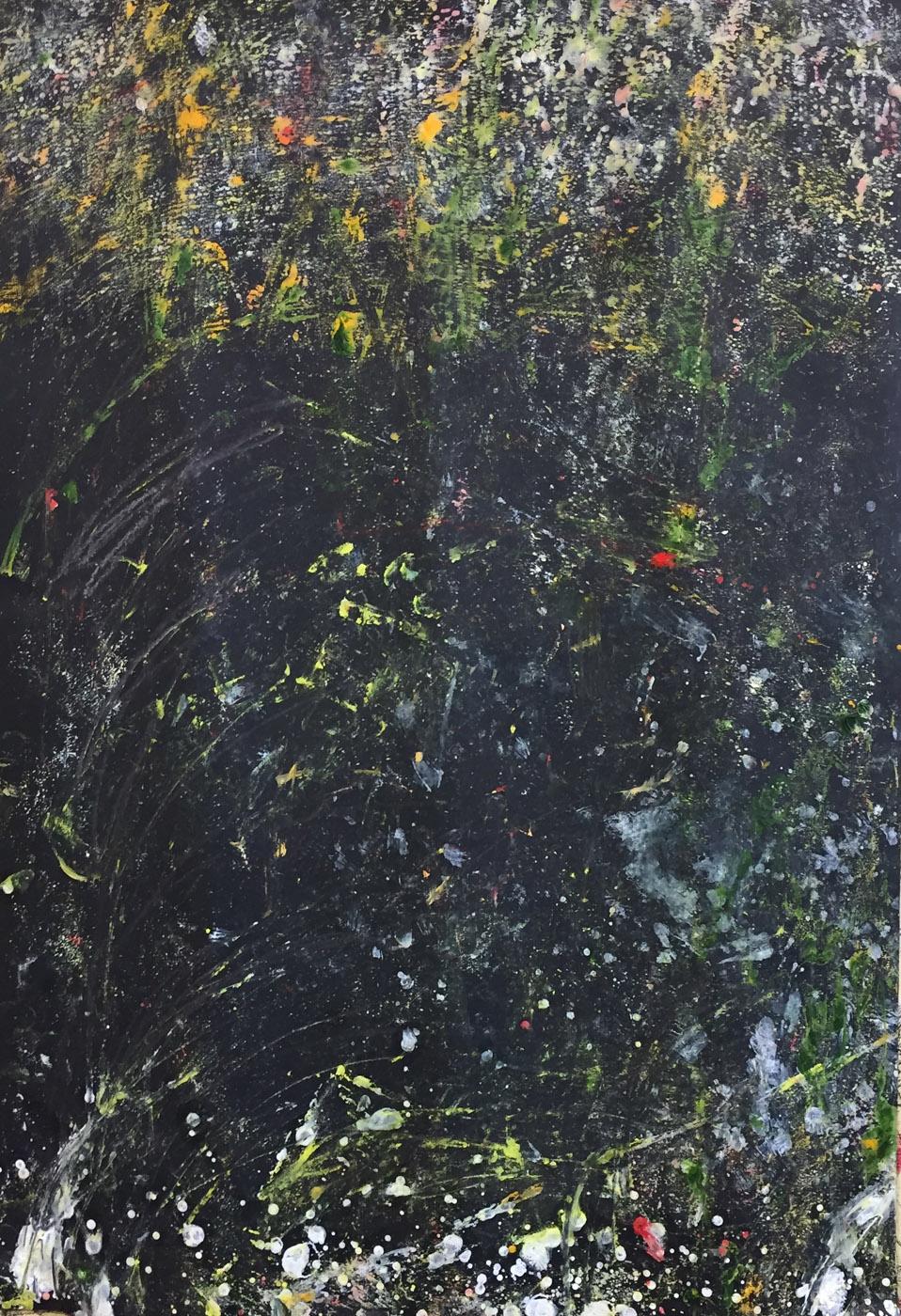 MARC FELD 2020 POSSIBILITIES 4 Huile, acrylique, mine de plomb et pigment sur papier 70 x 130 cm
