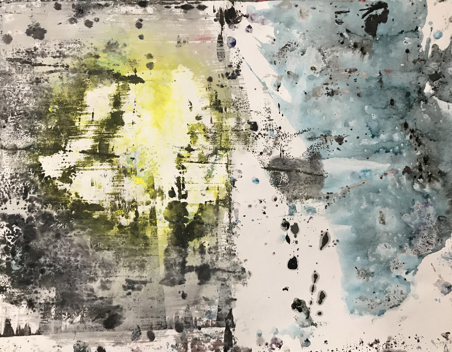 MARC FELD 2020 NON LIEU Huile, pigment et acrylique sur papier 50 x 65 cm