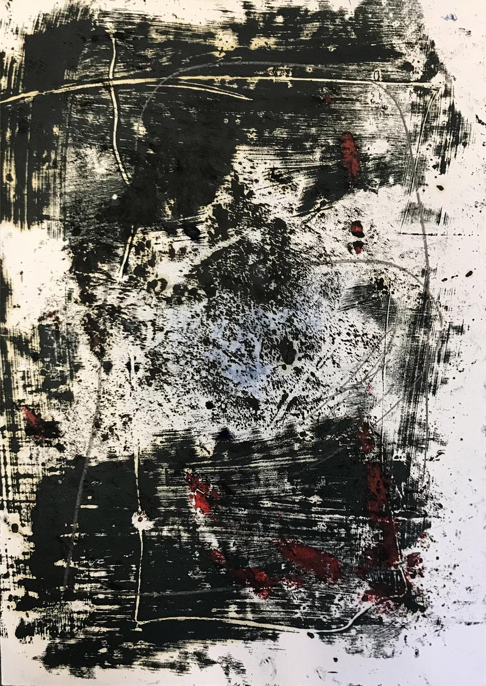 MARC FELD 2020 FRACTION FICTION Huile, pigment et mine de plomb sur papier 50 x 65 cm