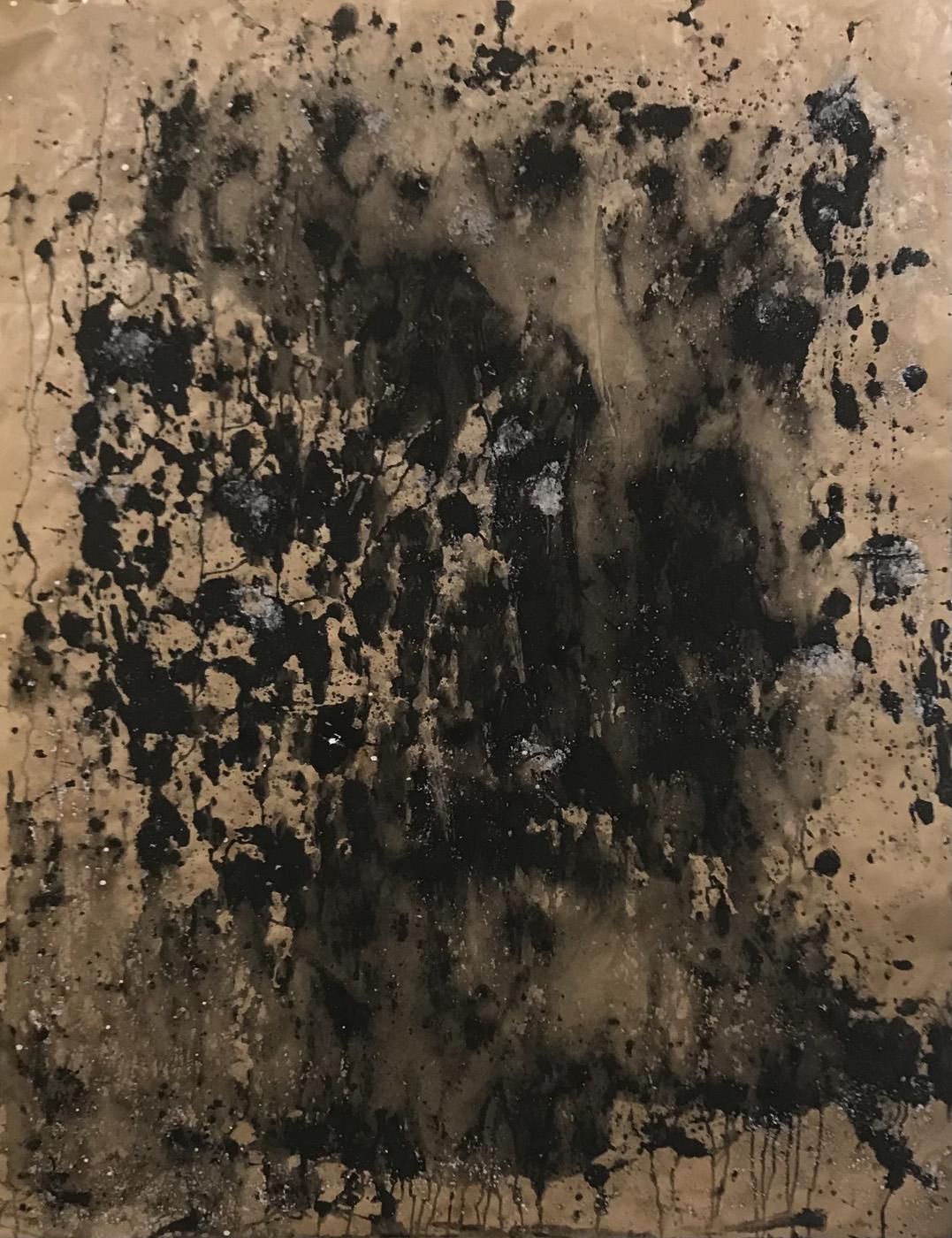 MARC FELD 2021 ÉBOULIS 1 série MURAILLES MÉMOIRES Huile gouache et acrylique sur papier 130 x 96 cm