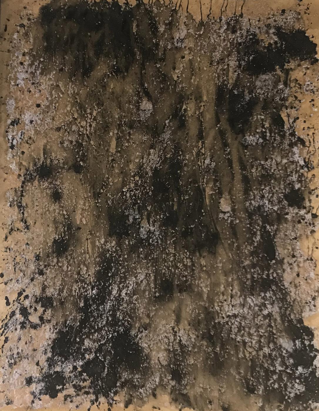 MARC FELD 2021 ÉBOULIS 2 série MURAILLES MÉMOIRES Huile gouache et acrylique sur papier 130 x 96 cm