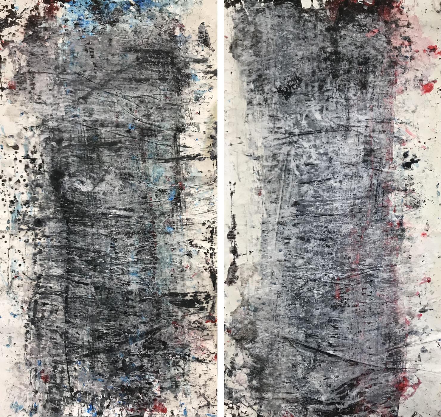 'MARC FELD 2021 VOIR-ENTREVOIR (dyptique) Huile, acrylique et gouache sur papier 150 x 166 cm