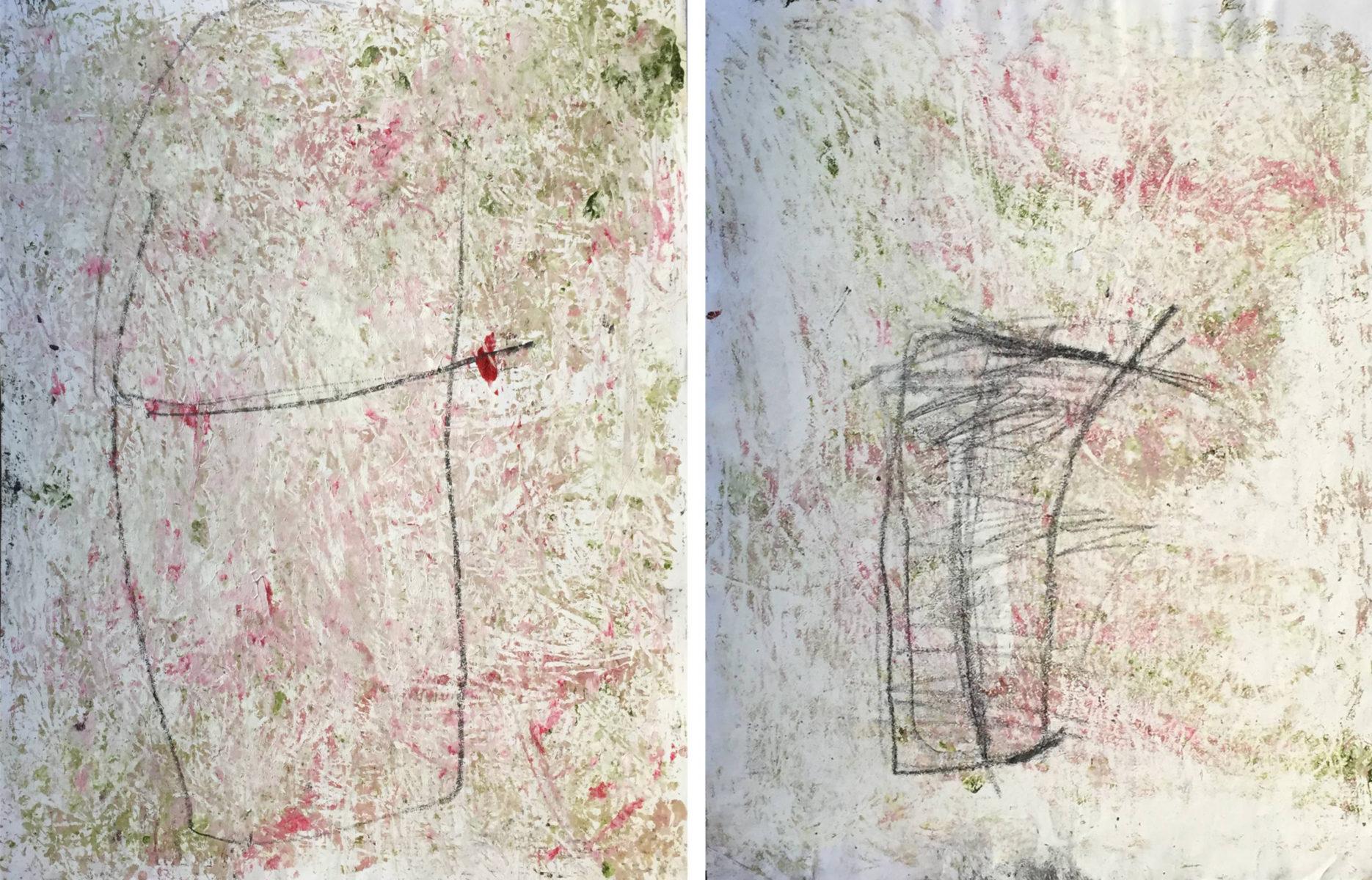 MARC FELD 2016 PARACELSE  Huile acrylique et mine de plomb sur papier 105 x 65 cm