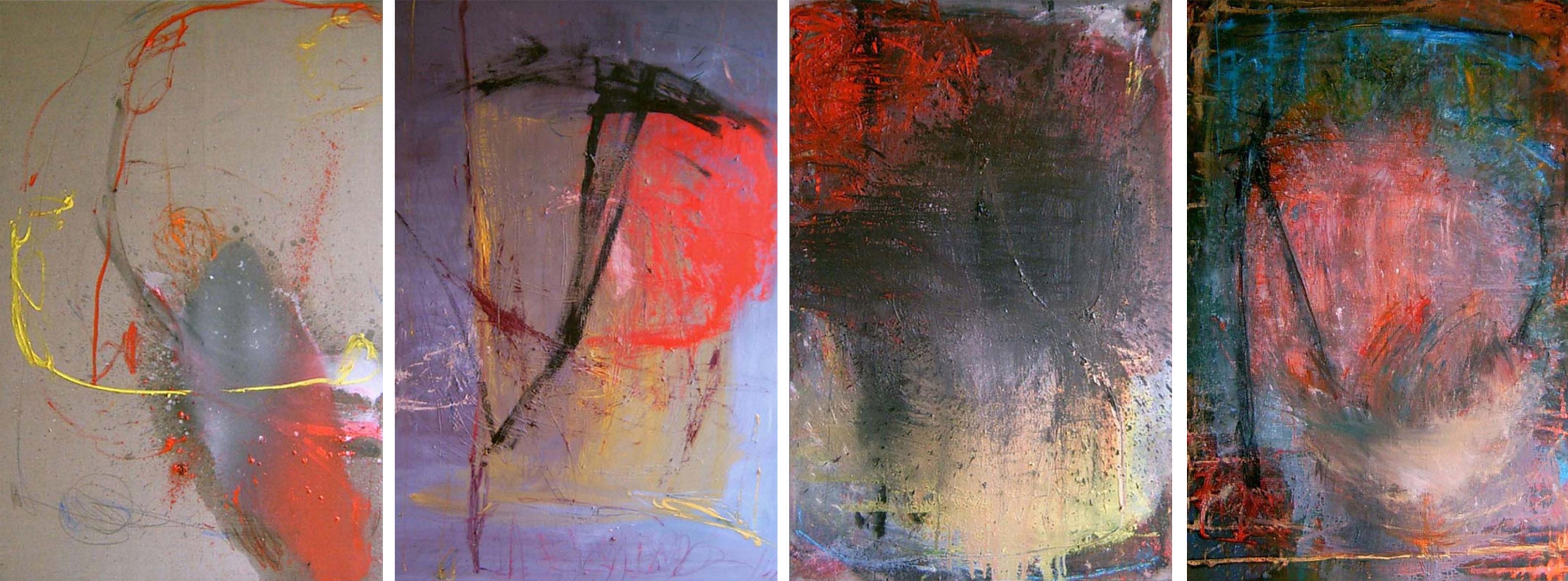 MARC FELD 2006 SUITES URBAINES   Huile  sur toile 520 x 195 cm