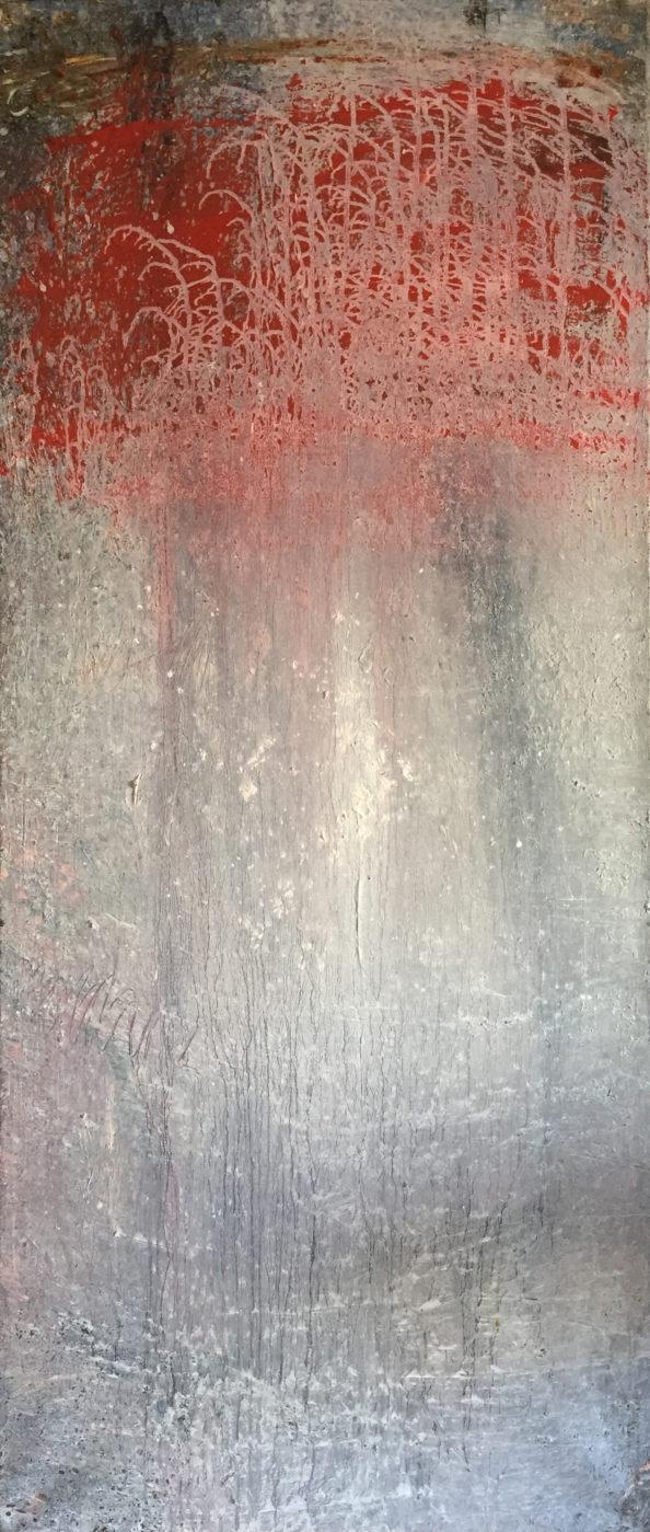 MARC FELD 2006 ARBRE ROUGE Huile sur toile 95 x 198 cm