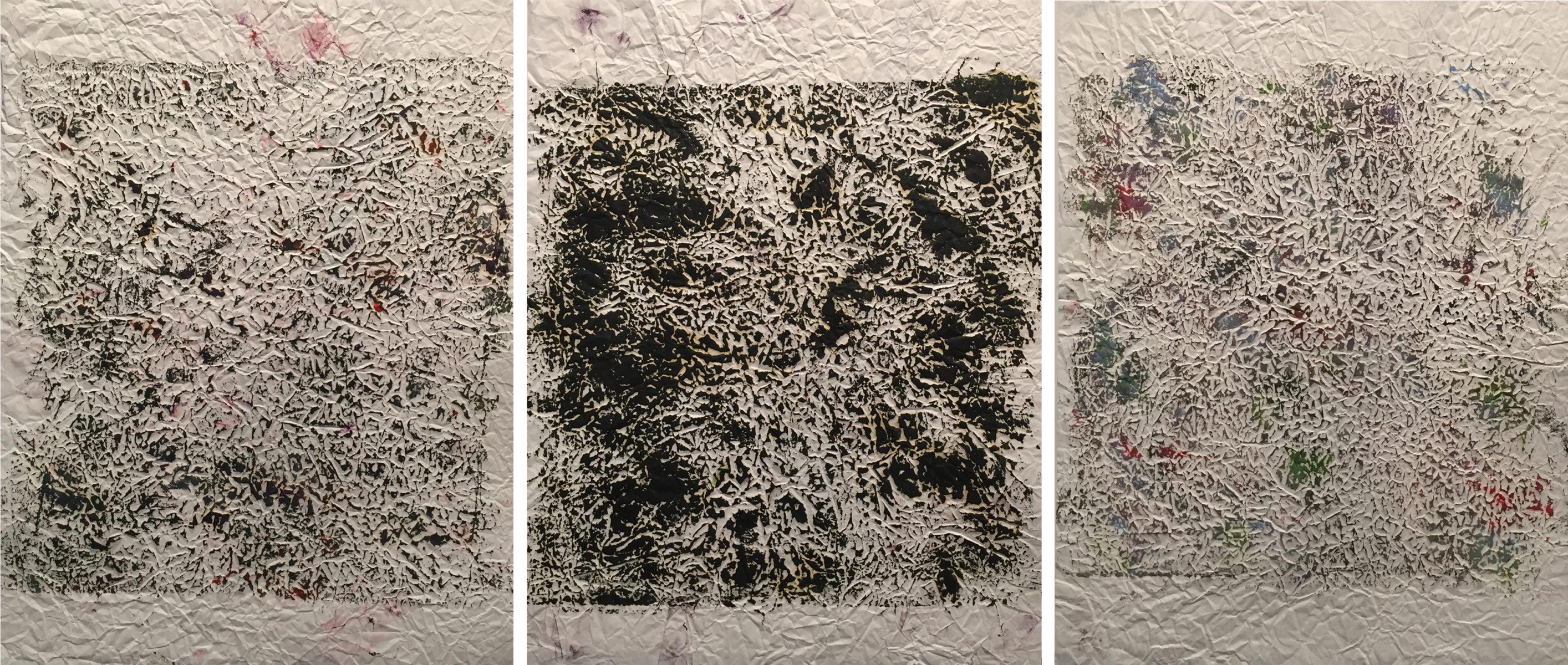 MARC FELD 2014 FRICHE 1  Huile sur papier 150 x 65 cm