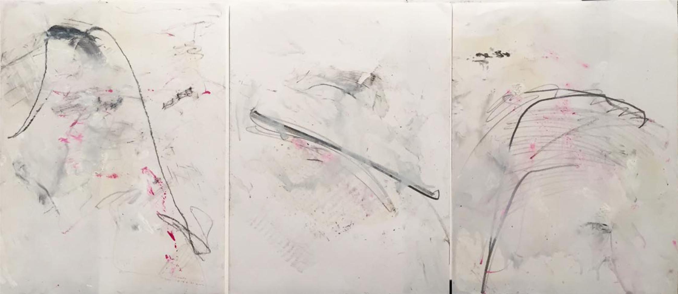MARC FELD 2014 PROVERBES Mine de plomb et huile sur papier 72 x 42 cm