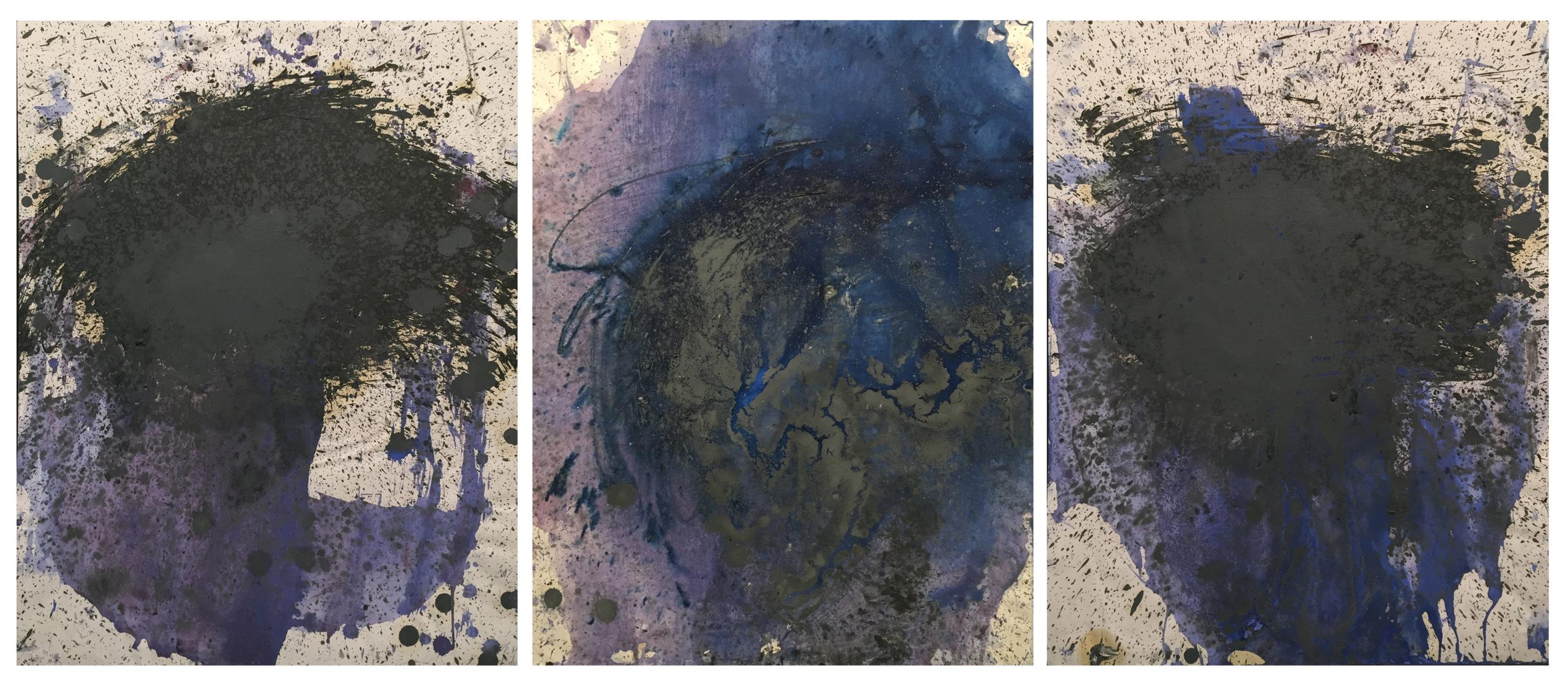 MARC FELD 2014 TERRITOIRE 1  Huile sur papier 150 x 130 cm