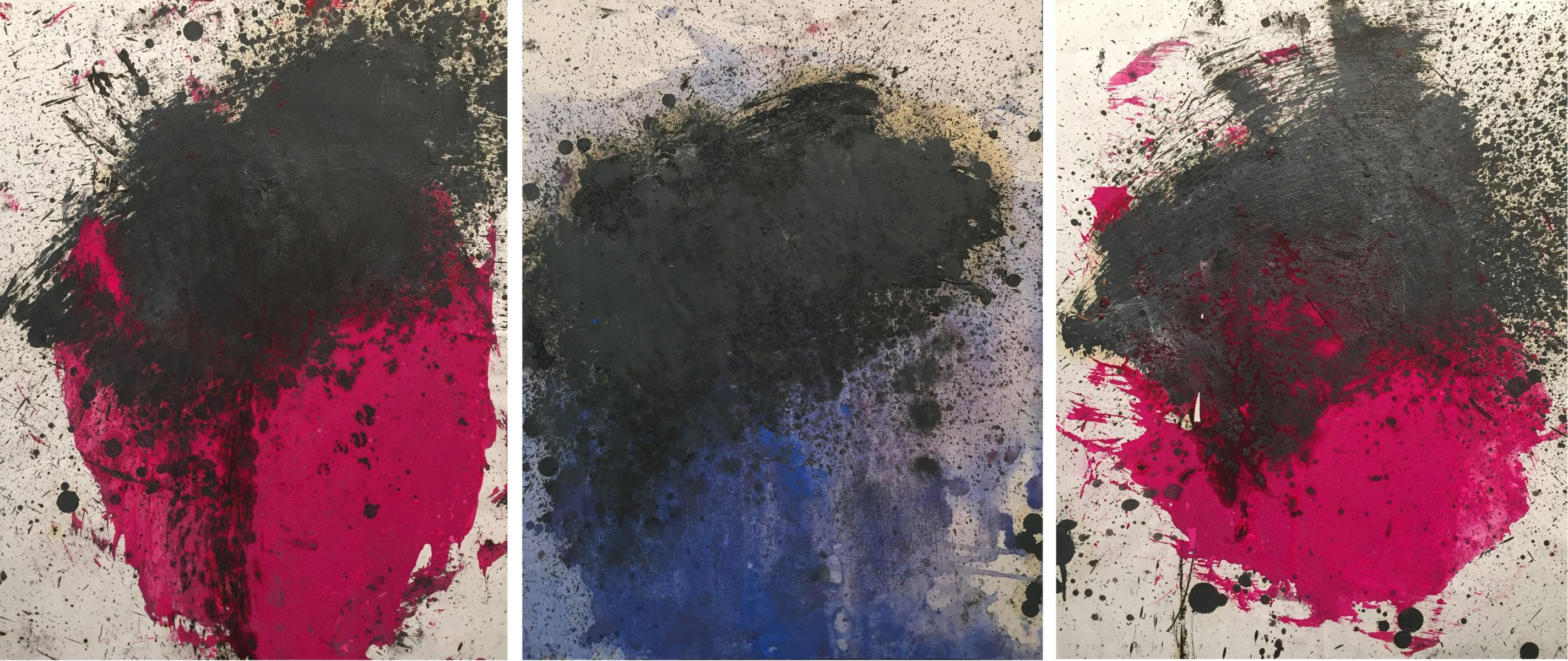 MARC FELD 2014 TERRITOIRE 2  Huile sur papier 150 x 130 cm