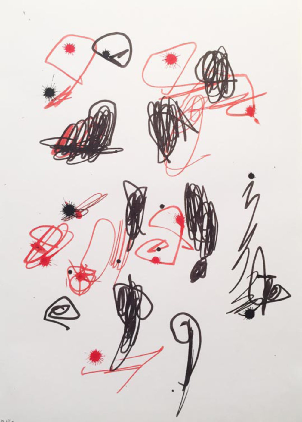 MARC FELD 2003 LITTLE SONG FOR MAURICIO KAGEL 12 Stylo feutre sur papier 21x29, 7 cm .jpg