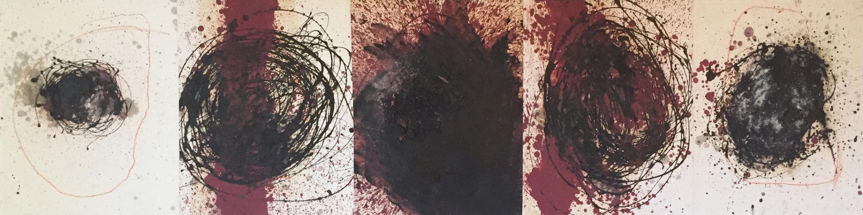 MARC FELD 2003 POUR ELVIN POUR ELVIN JONES 8  Huile et pigment sur papier marouflés sur toile 65 x 250 cm