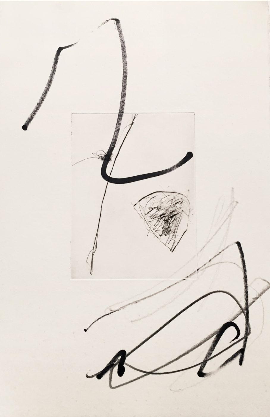 MARC FELD 2010-2016 LIGNES DE FUITE 1 Gravure sur zinc rehaussée au stylo feutre 28 x 38 cm tirage Patrick Vernet