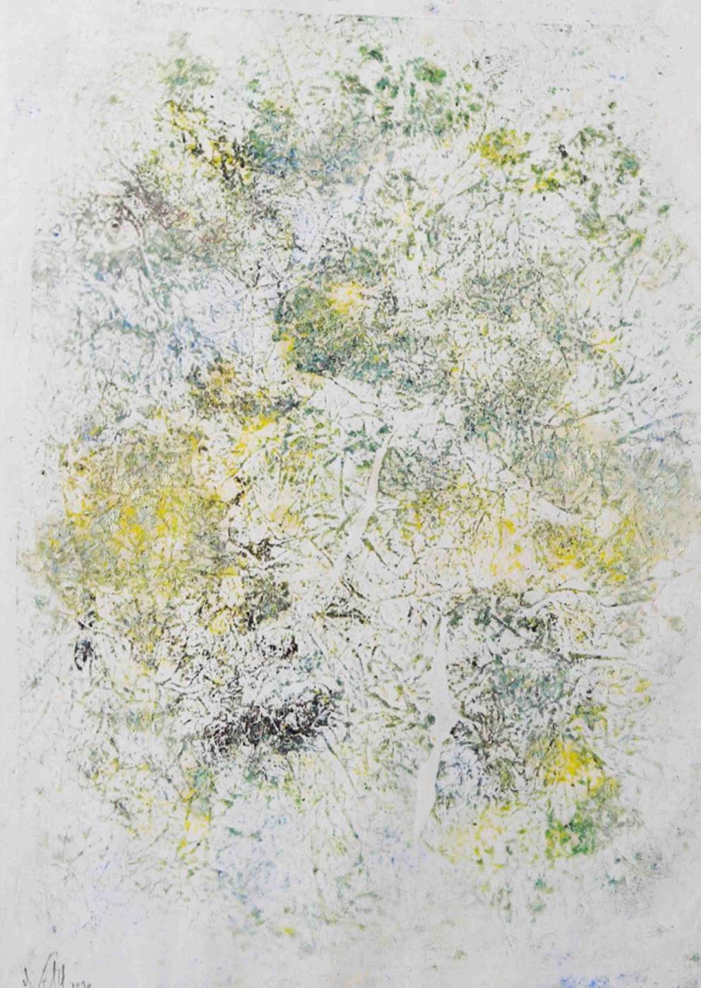 MARC FELD 2010 CARTOMANCIE 1 Huile et pigment sur papier 44 x 63 cm