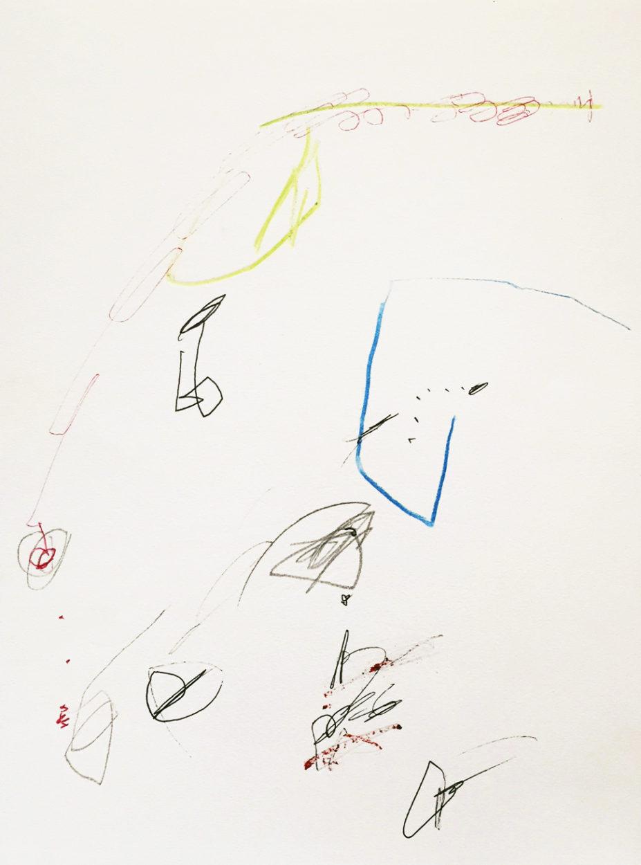 MARC FELD 2010 RYTHMES 3 Stylo bille, crayon de couleur et huile sur papier 24x32 cm
