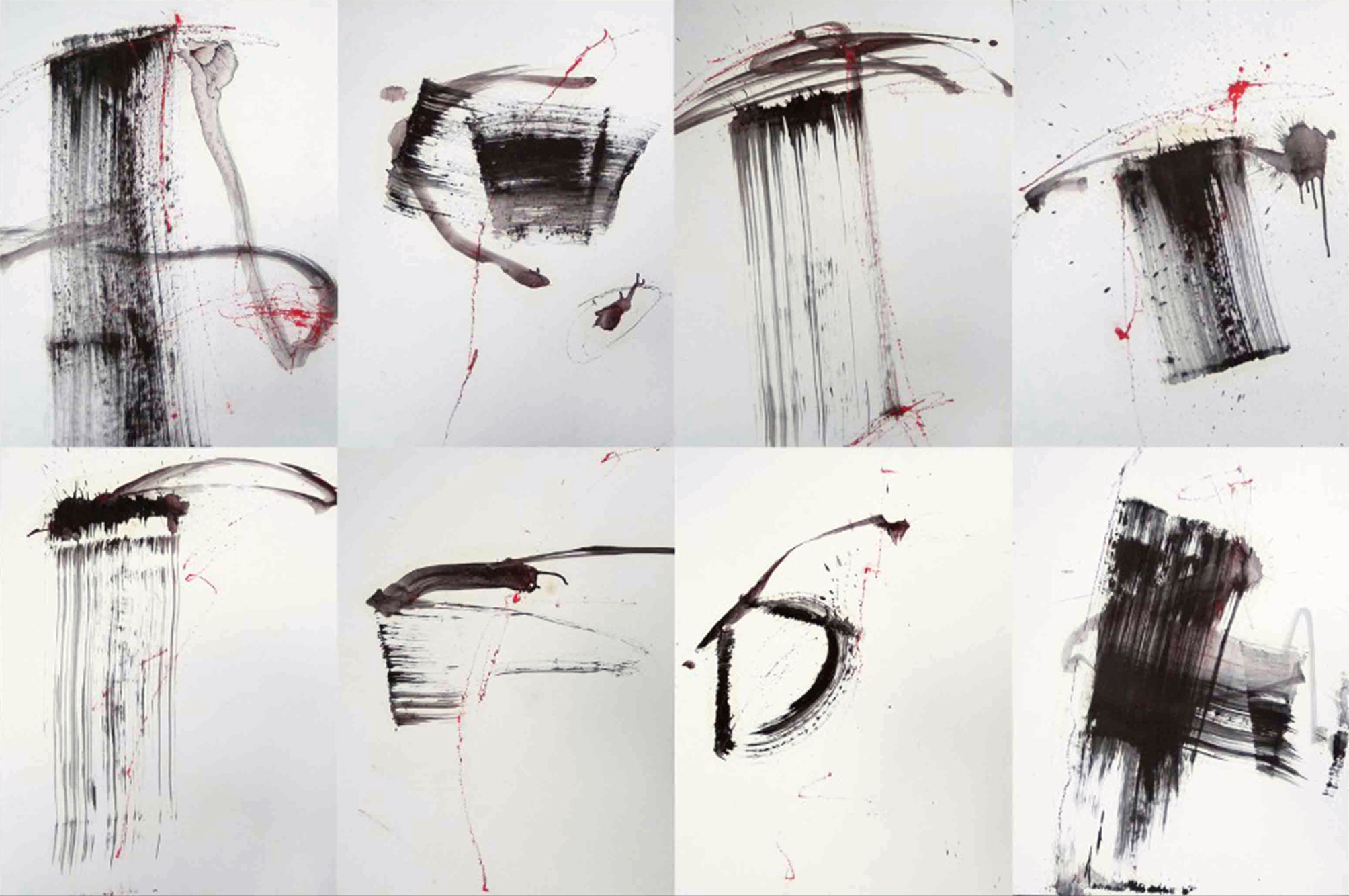 MARC FELD 2010 SONG FOR ANTONY BRAXTON  Huile pigment et encre sur papier marouflé sur toile 130 x 200 cm