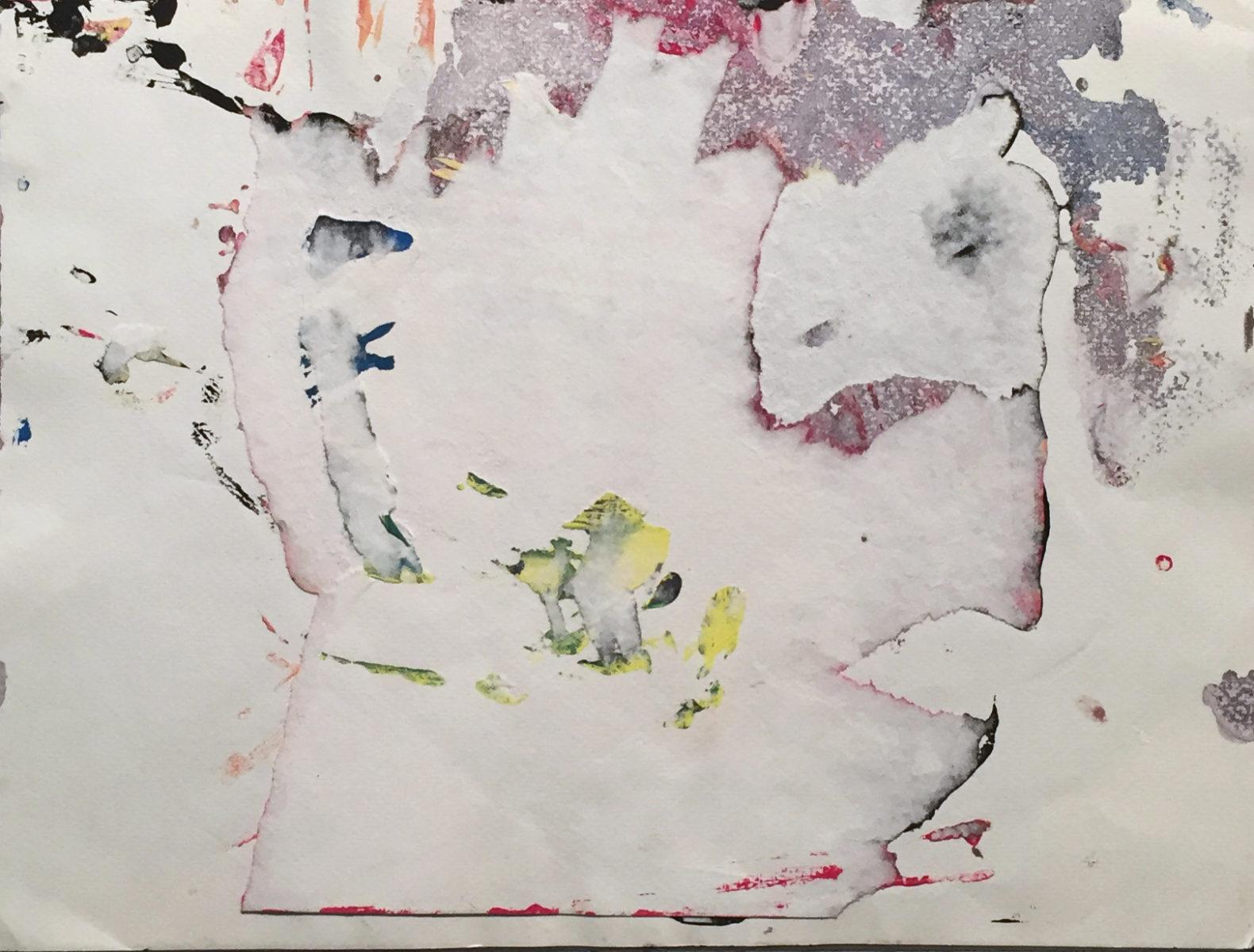 MARC FELD 2011 FICTION 5 Gouache sur papier déchiré 24x32 cm