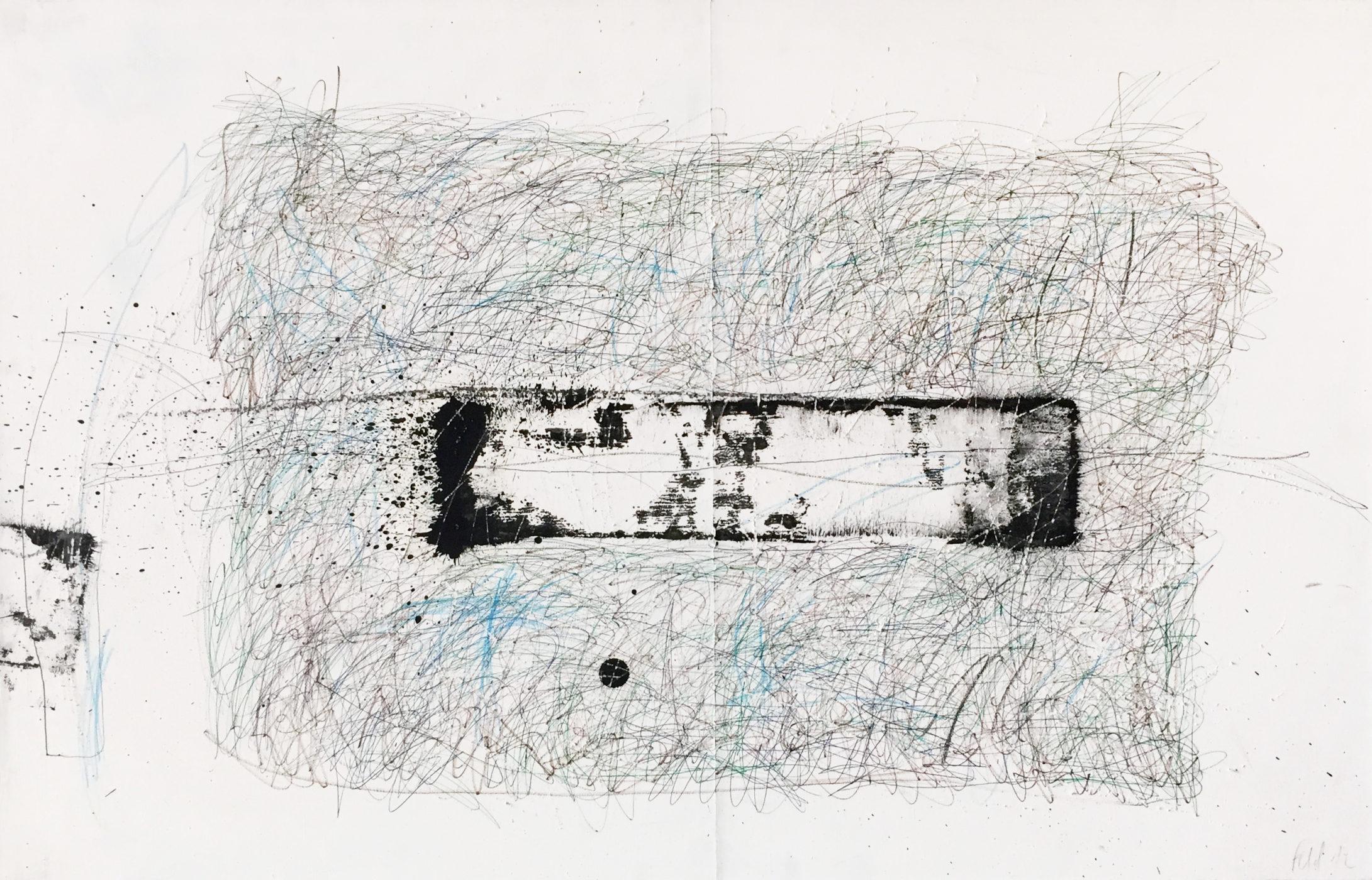 MARC FELD 2012 FANFARE FRAGILE 7 Encre,  huile stylo bille et crayons de couleur sur papier 50 x 130 cm