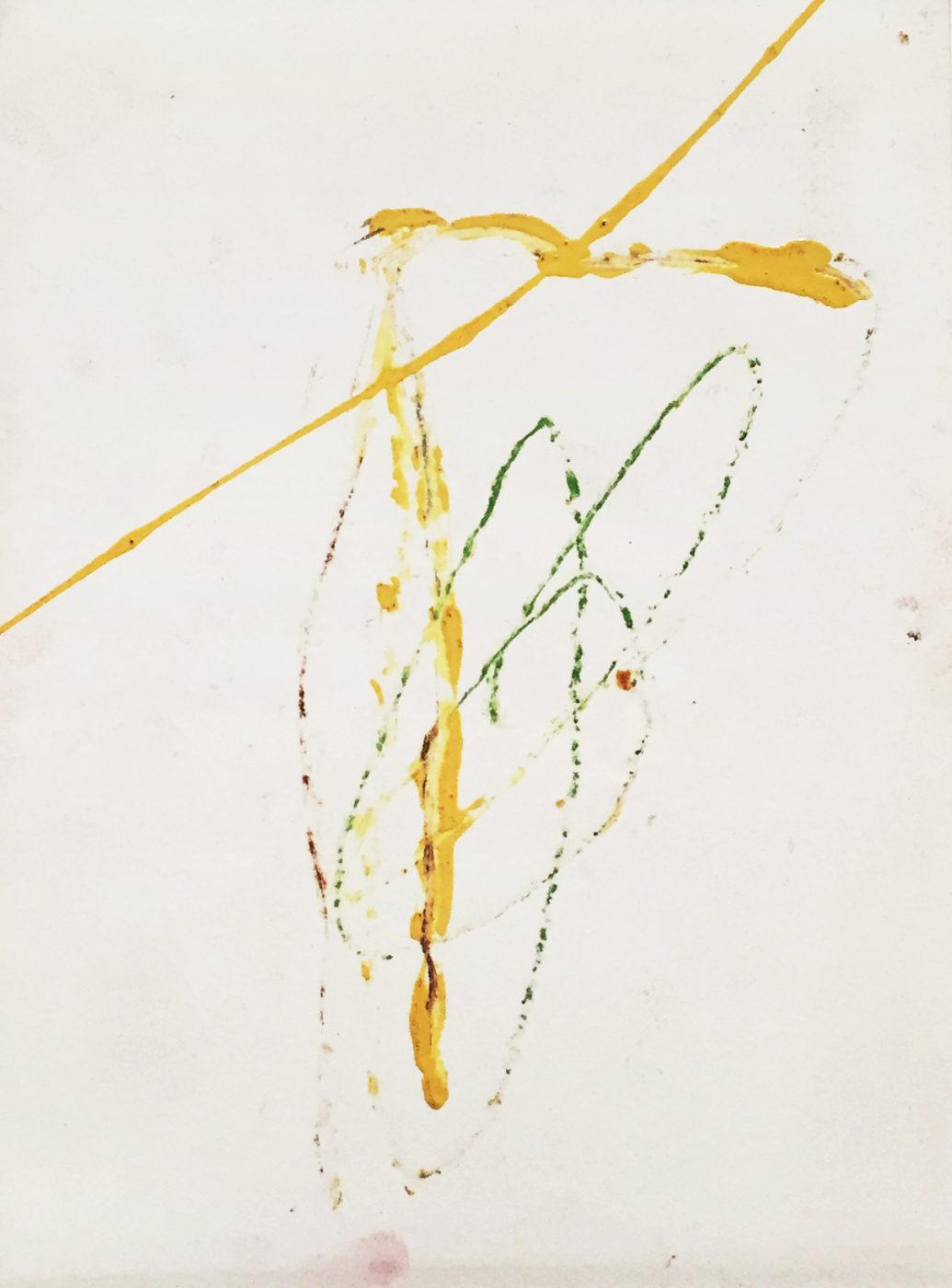 MARC FELD 2012 UN ADIEU 1 Peinture industrielle et crayon de couleur sur papier 24x32 cm