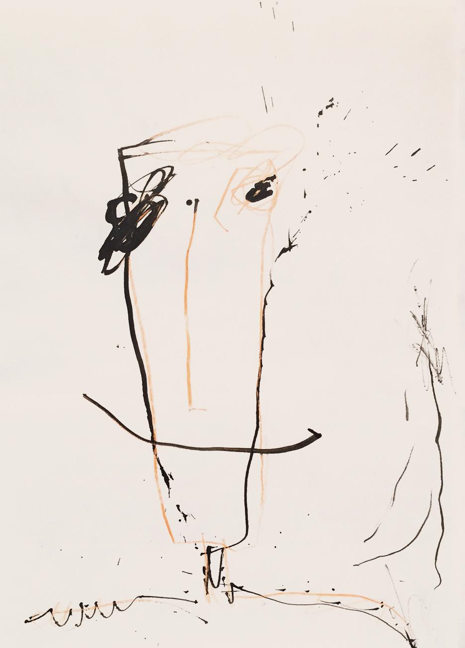 MARC FELD 2013 VISAGE 3 Encre et crayon de couleur sur papier 21x29,7 cm