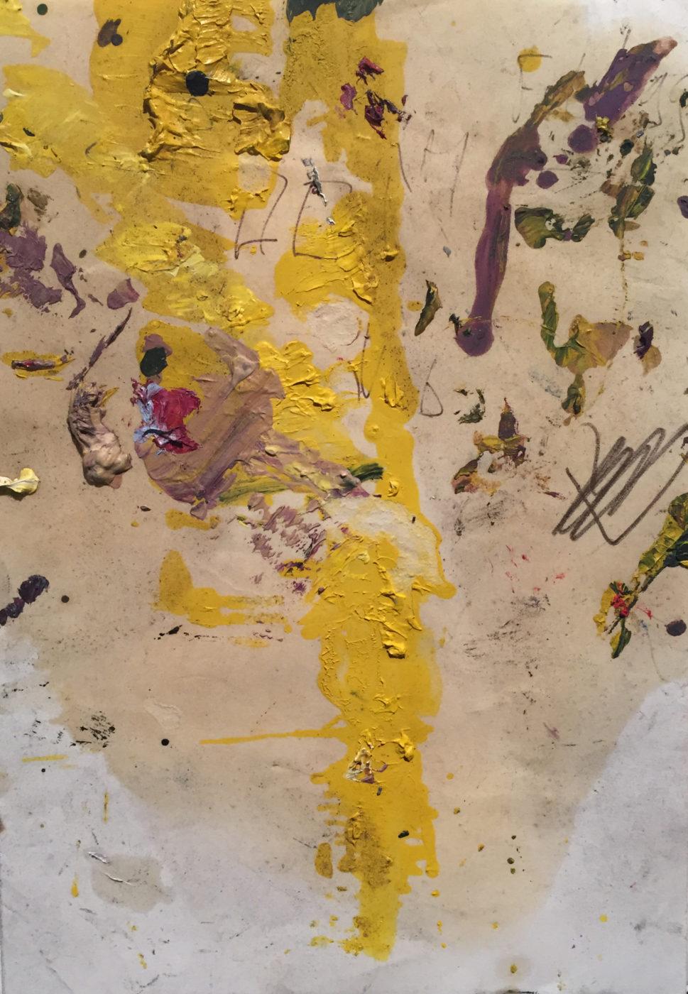 MARC FELD 2014 CHANSONNETTE GOUACHE HUILE ET MINE DE PLOMB SUR PAPIER 21x15 cm