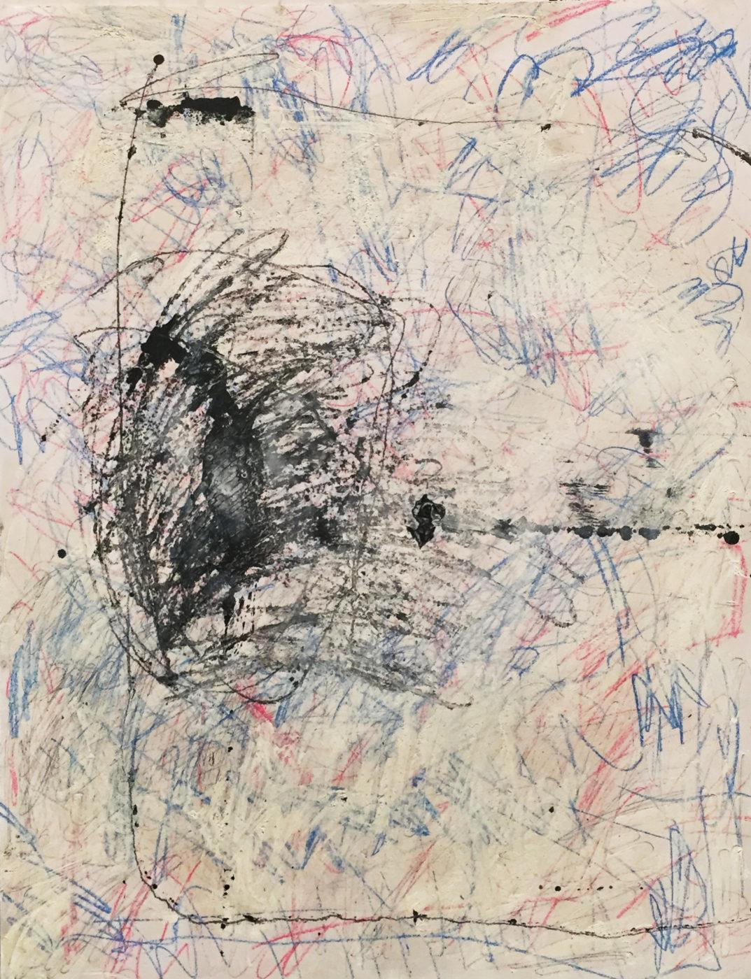 MARC FELD 2014 IMPROVISTE Huile et crayon de couleur sur papier  50 x 65 cm