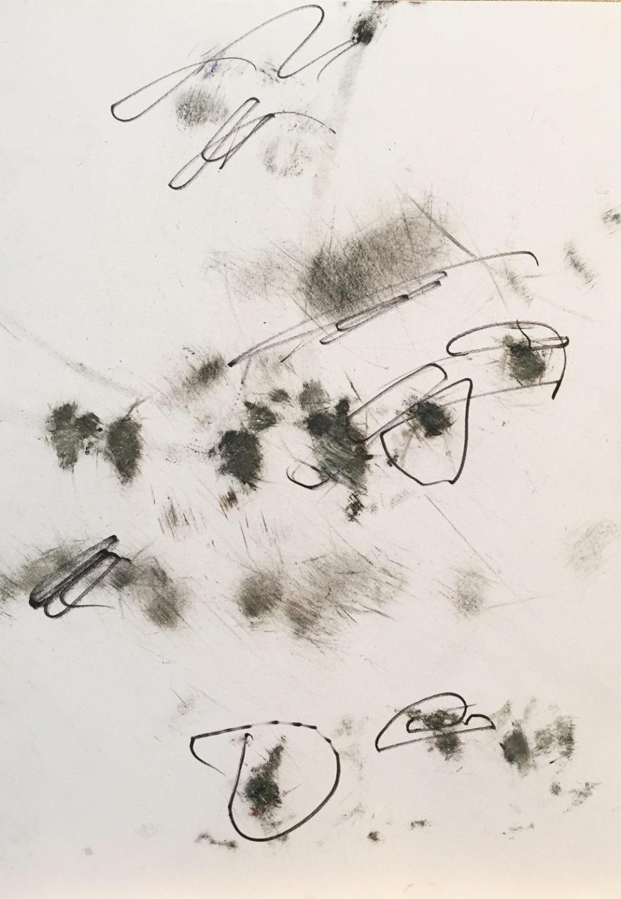 MARC FELD 2016 CONTREPOINT 2 Fusain, encre et feutre sur papier 21 x 29,7 cm