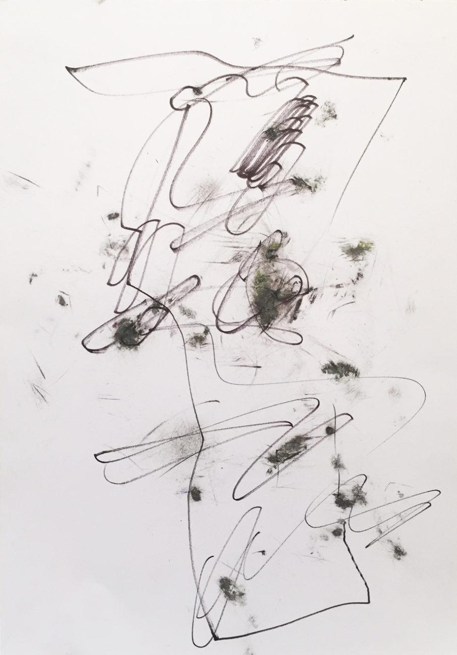 MARC FELD 2016 CONTREPOINT 4 Fusain, encre et feutre sur papier 21 x 29,7 cm