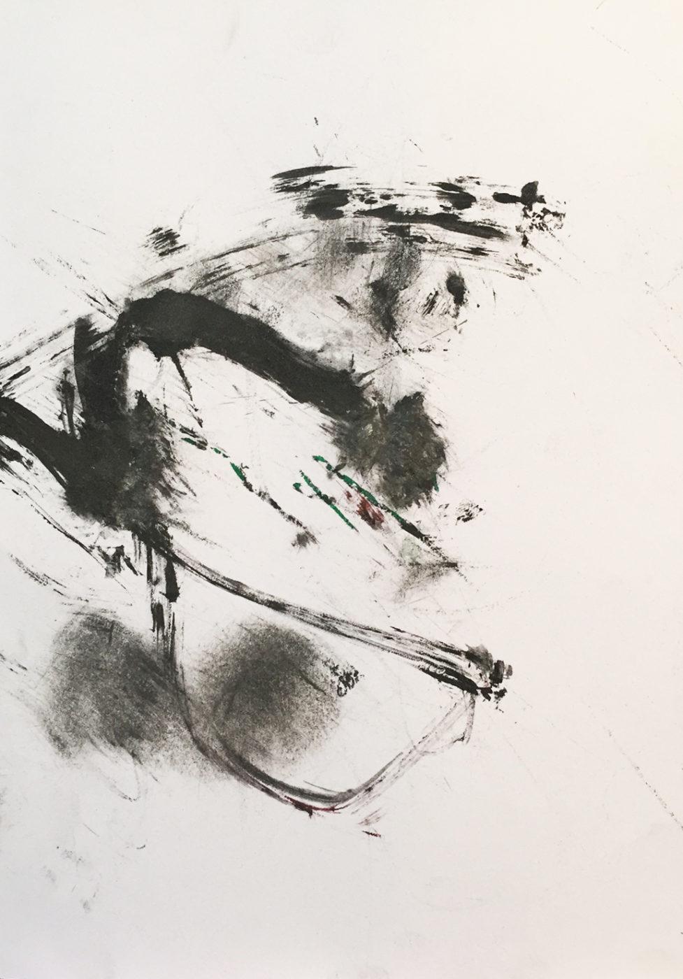 MARC FELD 2016 CONTREPOINT Fusain, encre sur papier 21 x 29,7 cm