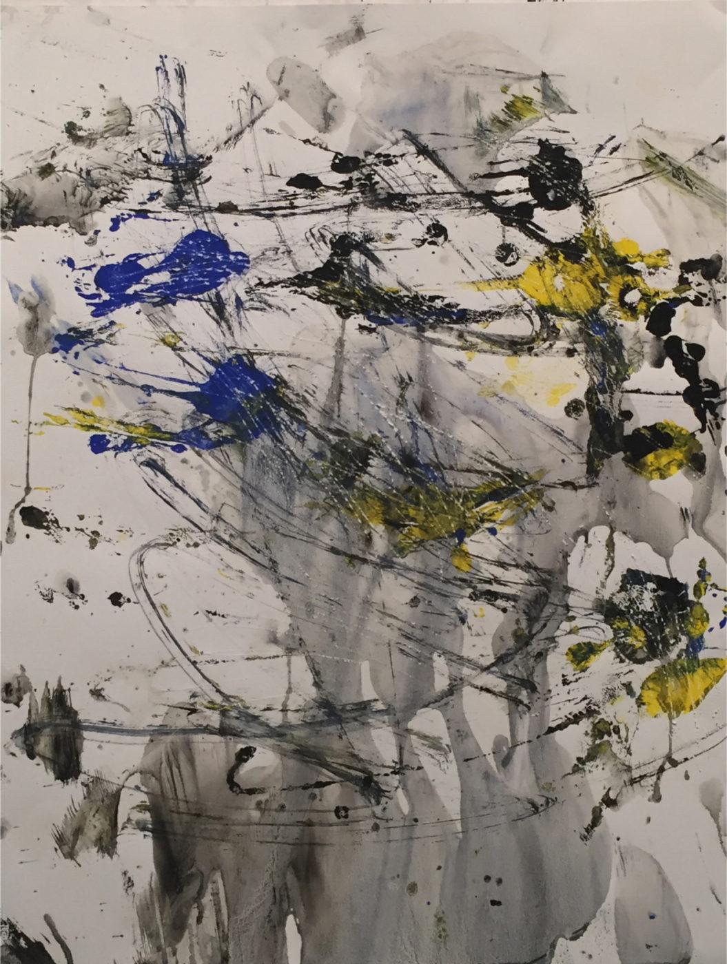 MARC FELD 2016 FEUILLAGE  Acrylique et mine de plomb sur papier 50 x 65 cm