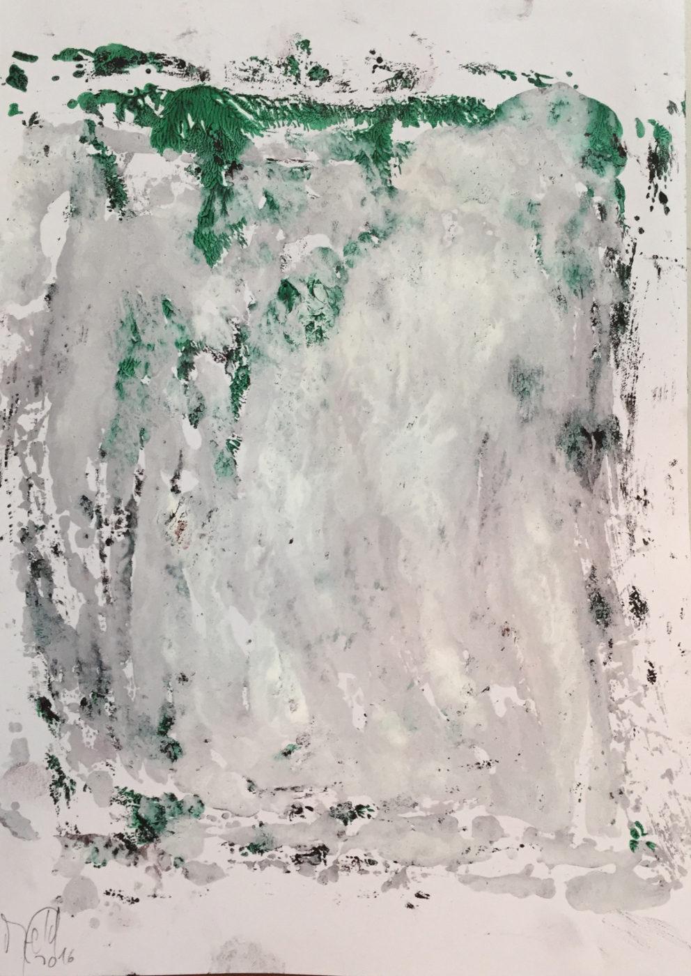 MARC FELD 2016 FRAGMENTATION 1 Huile et acrylique sur papier 29,7 x 21 cm