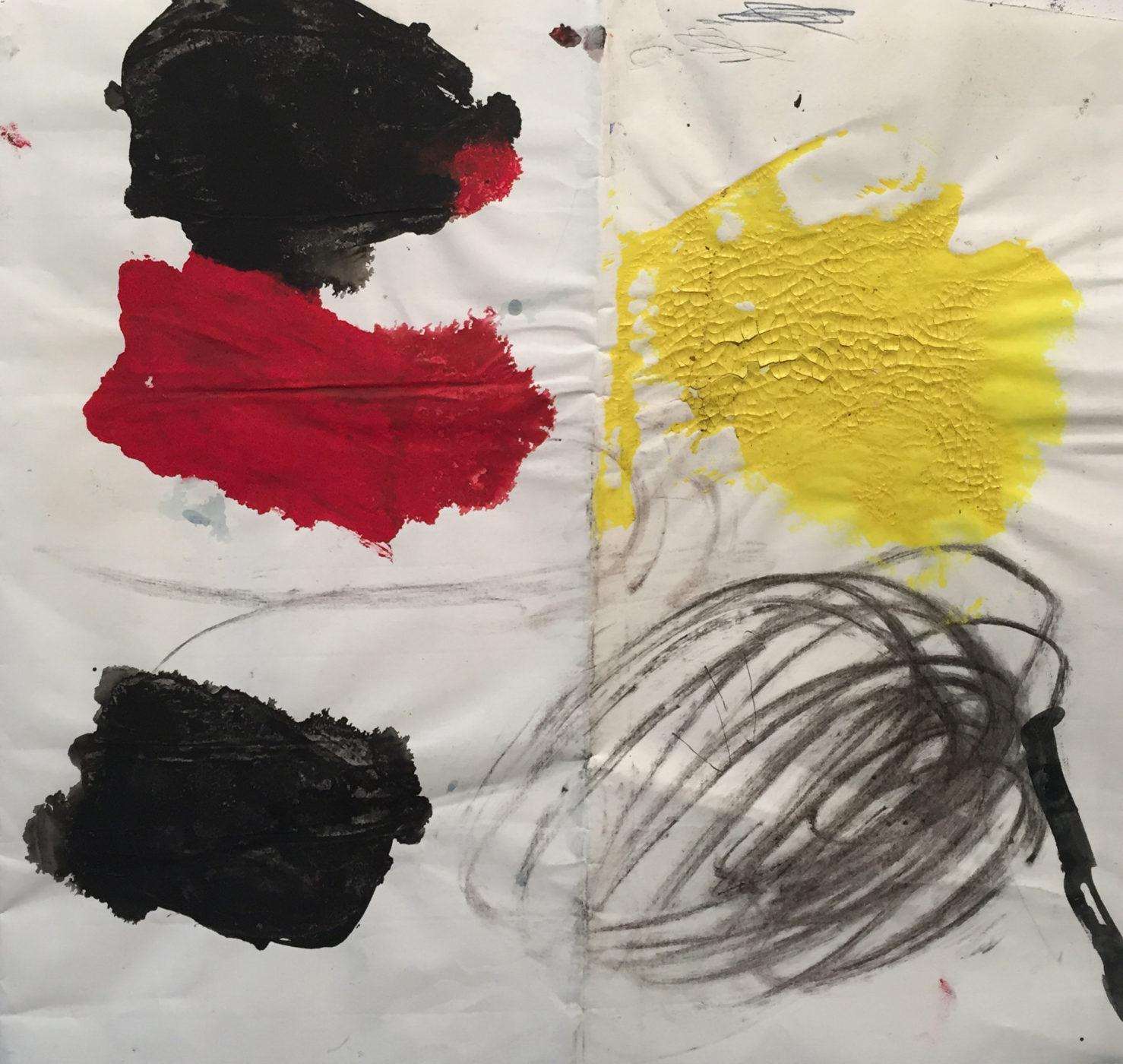 MARC FELD 2016 SALTIMBANQUE Gouache fusain stylo bille sur papier 30x34 cm