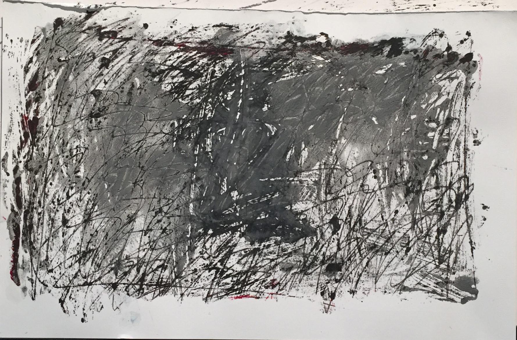 MARC FELD 2016 SOUS LES MOTS 8 Huile et gouache sur papier 29,5x42 cm