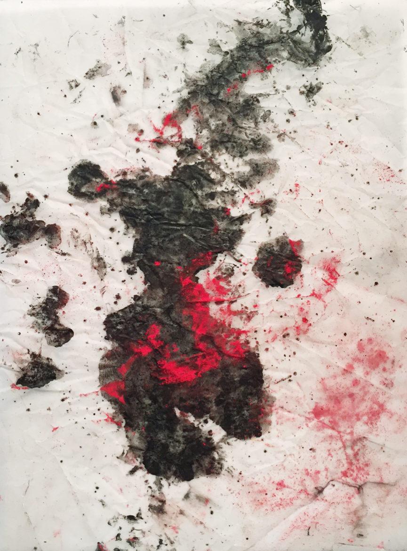 MARC FELD 2017 TOURMENTS Huile et pigment sur papier calque 21x29,7 cm