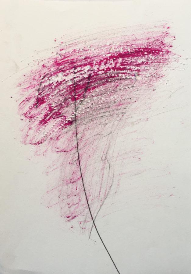 MARC FELD 2017 UNE PENSÉE ROUGE (pour Thierry Metz) Huile et mine de plomb sur papier 24x32 cm