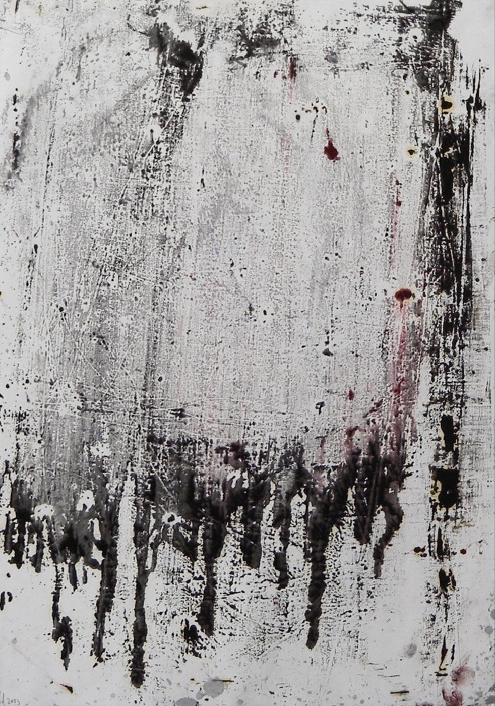 MARC FELD 2003 VIEUX LINGE (pour Samuel B) Huile sur papier 44 x 65 cm