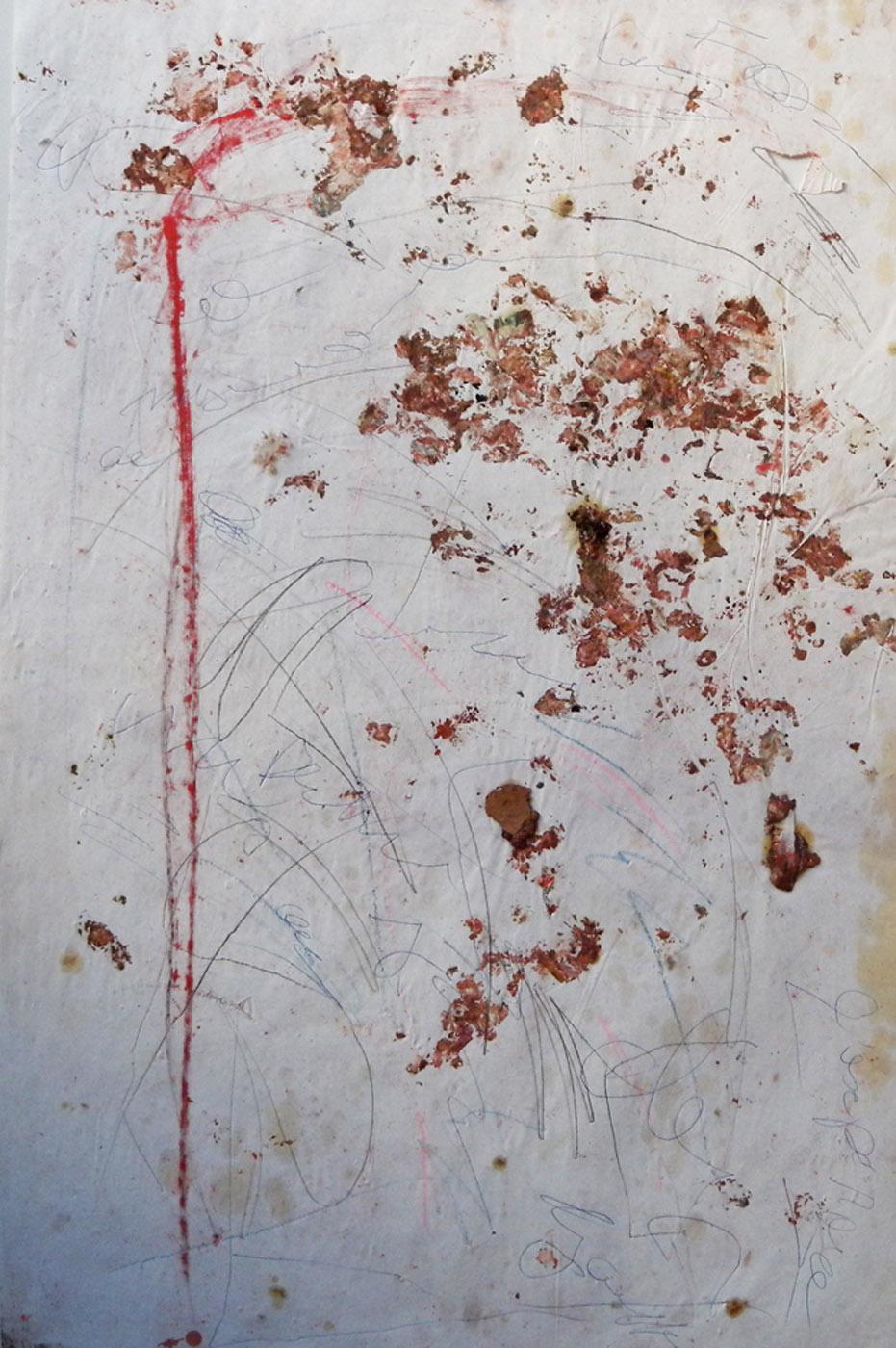 MARC FELD 2004 NIJINSKY Huile, pigment, stylo bille et mine de plomb sur papier 52 x 117 cm
