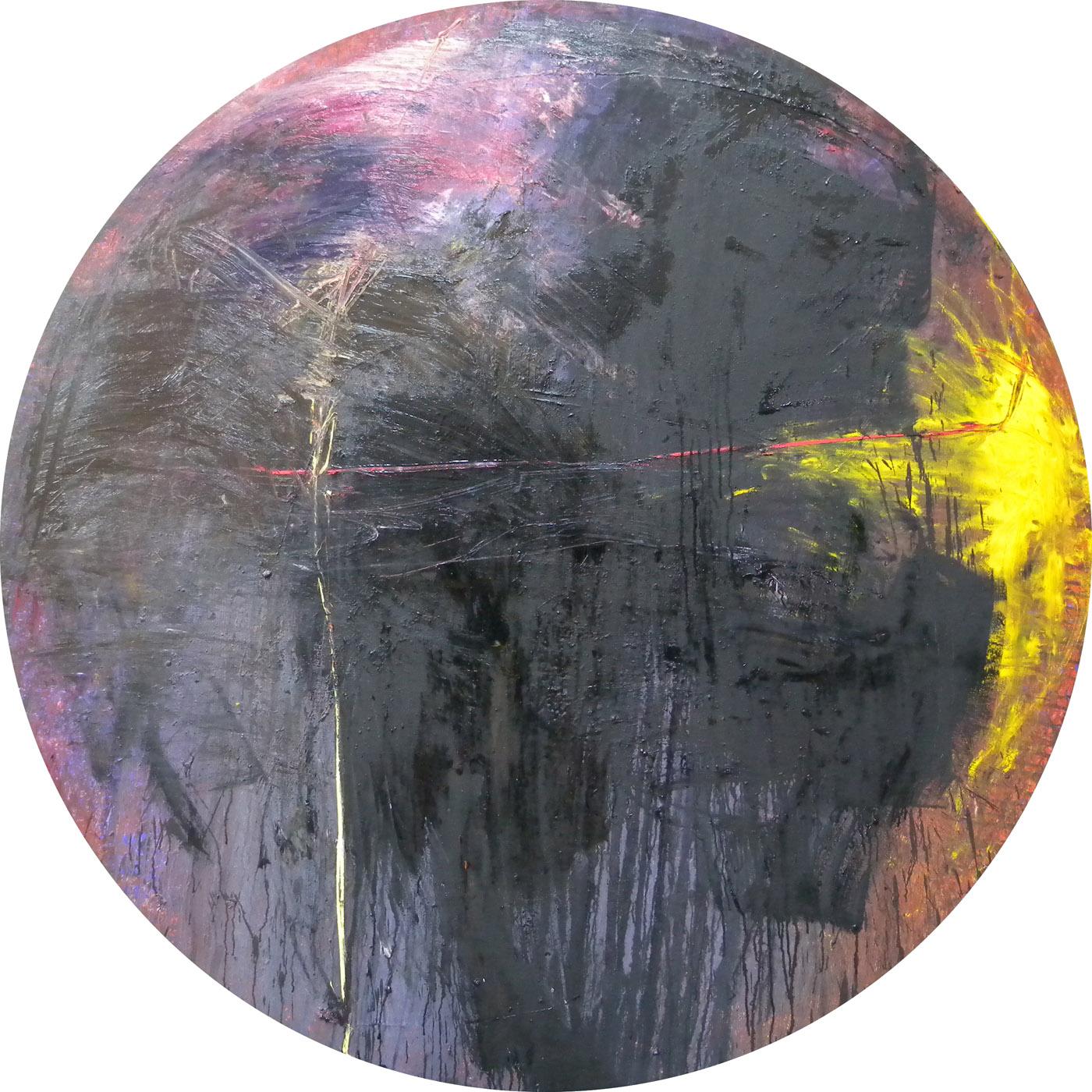 MARC FELD 2010 PARADE FOR CHAÏM 4 Huile sur toile diamètre 190 cm