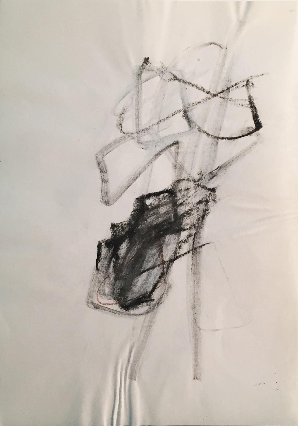 MARC FELD 2003 LIEN SANS LIEU Fusain sur papier 21 x 29.7 cm