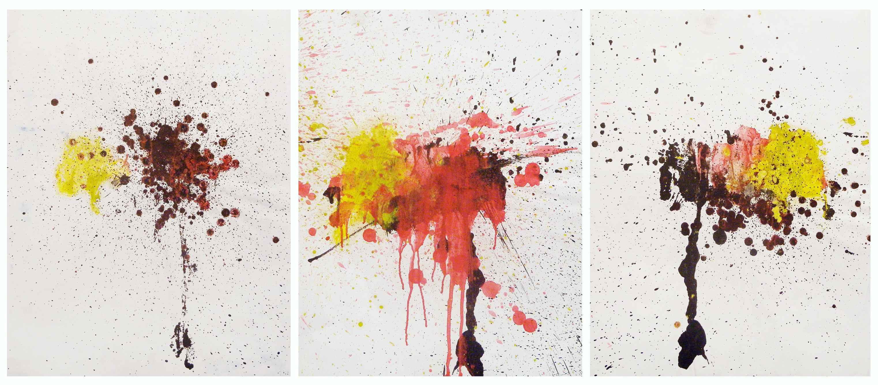 MARC FELD 2010 SANS TITRE Huile sur papier 150 x 65 cm