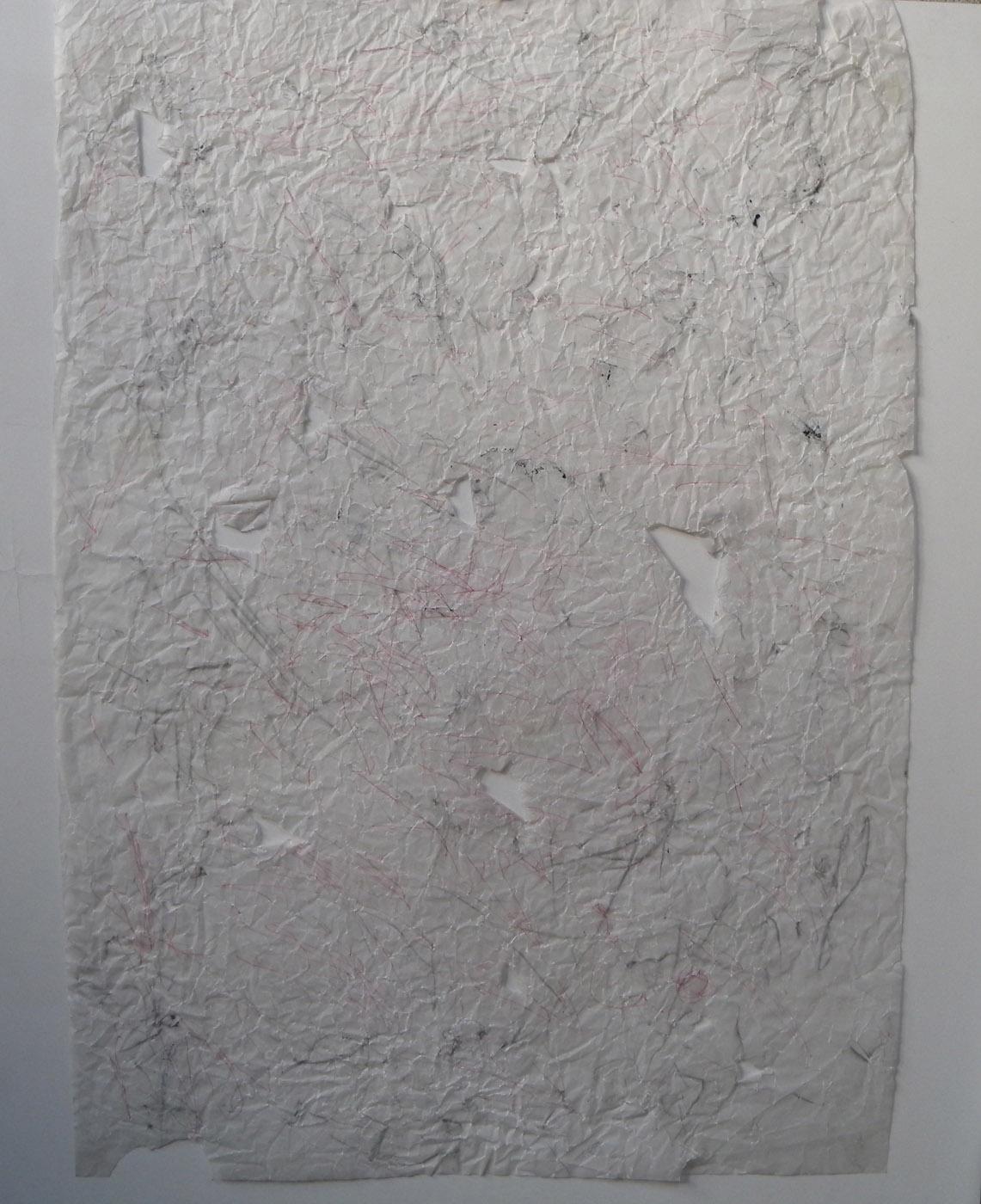 MARC FELD 2010 YOUR NAME Stylo bille et pigment sur papier calque déchiré et froissé 60x86 cm