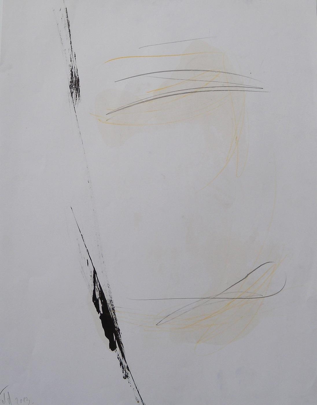 MARC FELD 2013 RUISSEAU Huile, mine de plomb et crayon de couleur sur papier 50 x 65 cm