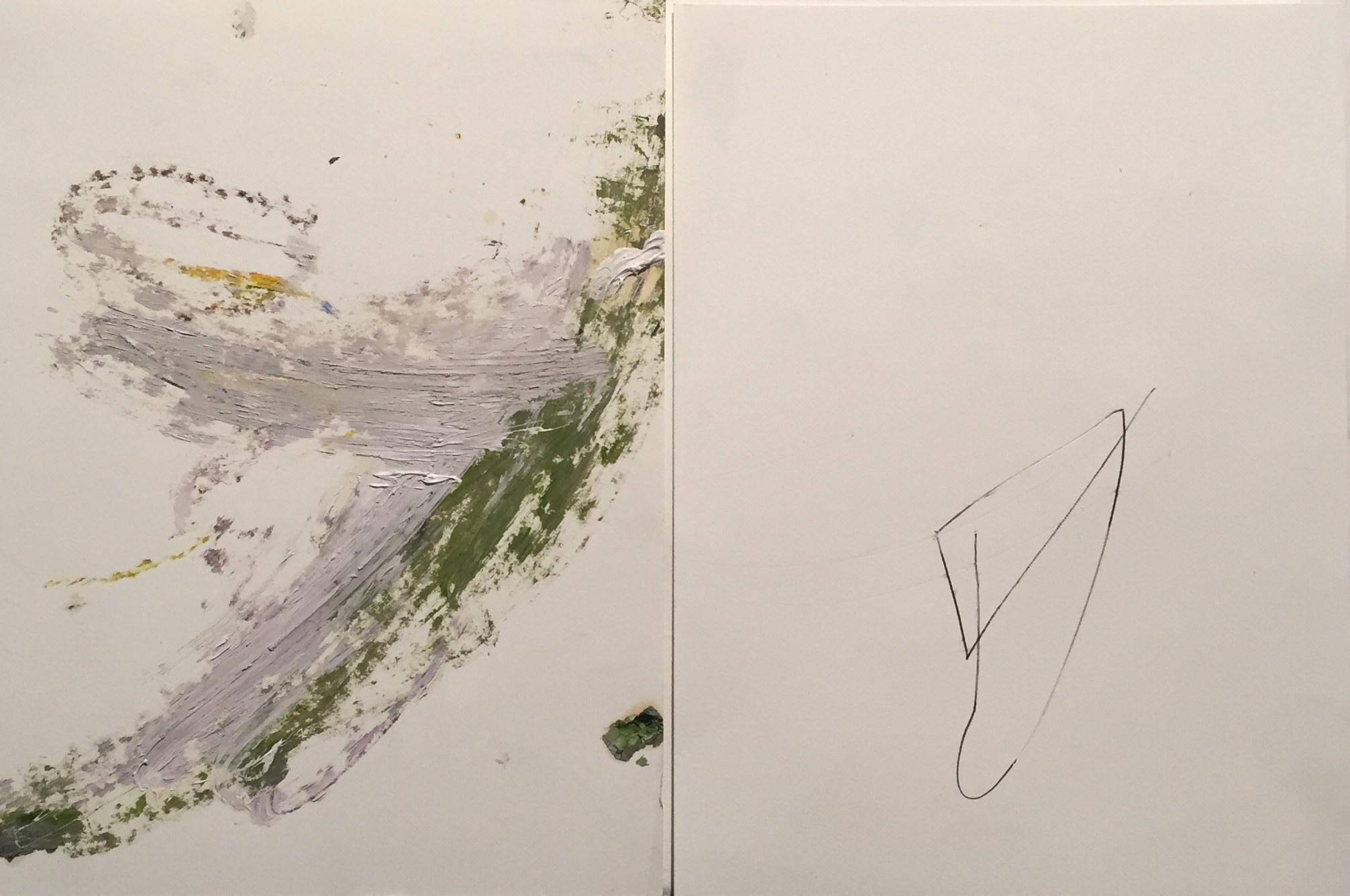 MARC FELD 2014 FARANDOLE Huile et stylo bille sur papier 48 x 32 cm