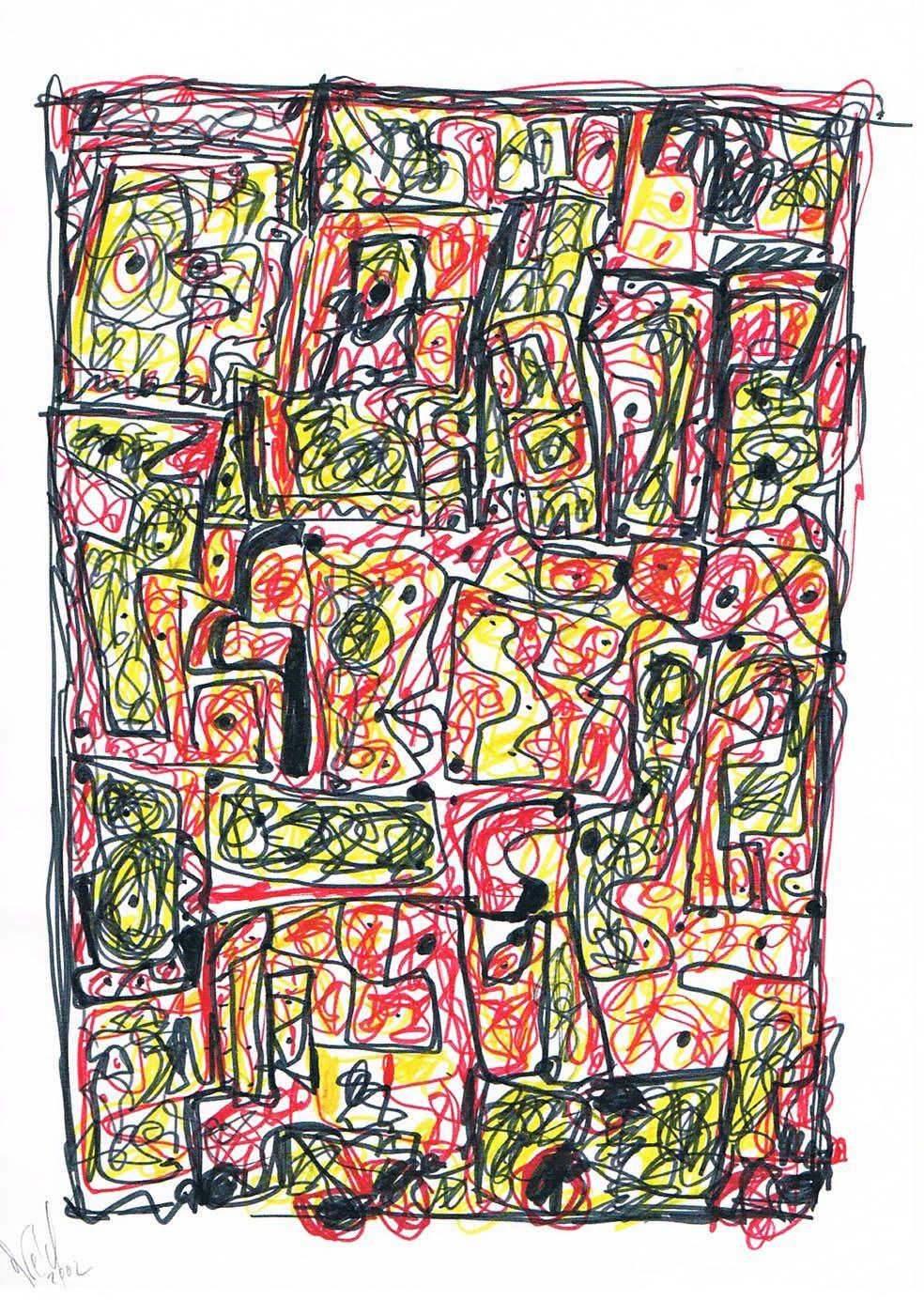 MARC FELD 2002 VOLIÈRE 6 Stylo feutre sur papier 21 x 29,7 cm