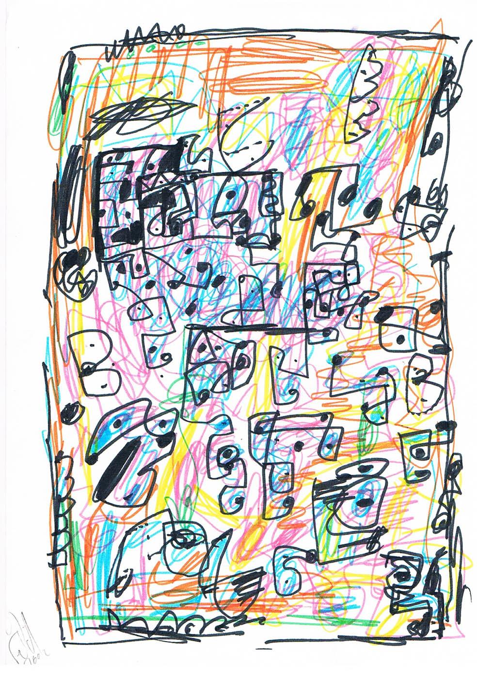 MARC FELD 2002 VOLIÈRE 8 Stylo feutre sur papier 21 x 29,7 cm